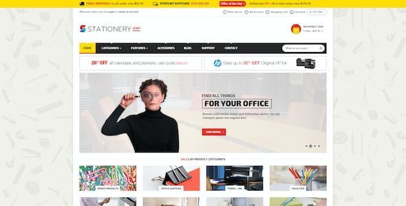 stationery shop website templates from themeforest
