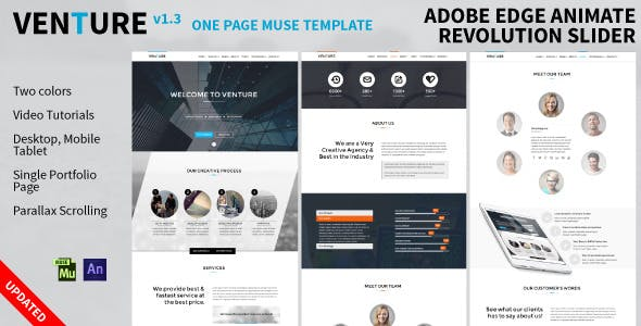 Adobe edge animate templates from themeforest venture one page animated muse template maxwellsz